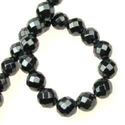 Gemstone Beads Strand, Non-Magnetic Synthetic Hematite, Round, Faceted, 10mm, ~40 pcs