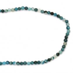 Наниз мъниста полускъпоценен камък АХАТ ивичест син топче фасетирано 4 мм ±95 броя