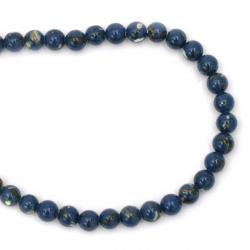 Margele de sfoară piatră semiprețioasă REGALITI imitație bilă albastră 6mm ~ 66 bucăți