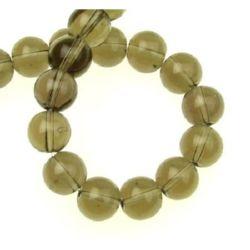String Smokey Quartz beads  - natural stone imitation, ball shaped 10 mm ~38 pieces