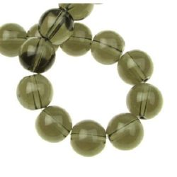 String Smokey Quartz beads  -natural stone imitation, ball shaped 12 mm ~33 pieces