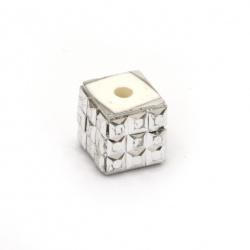Мънисто АРТ резин 10x10x10 мм дупка 5 мм цвят сребро -5 броя