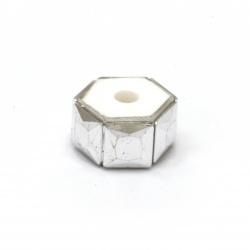Мънисто АРТ резин 12x7 мм дупка 3 мм цвят сребро -5 броя