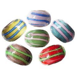 Margele ART sticlă 14x10 mm gaură 5 mm colorate manual