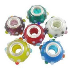 Мънисто АРТ стъкло ръчна изработка цветно 14x11 мм дупка 5 мм