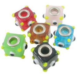 Margele ART sticlă 13mm gaură 5mm cub