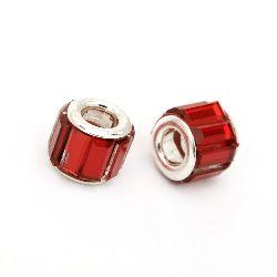 Margele ART sticlă 11x9 mm gaură 5 mm roșu