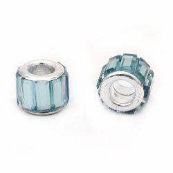 Мънисто АРТ стъкло 11x9 мм дупка 5 мм синьо