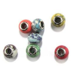 Мънисто АРТ естествен камък цветно 14x10 мм дупка 5 мм