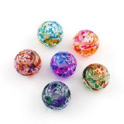 Мънисто АРТ стъкло 14x10 мм дупка 5 мм прозрачно матирано многоцветно АСОРТЕ