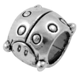 Metal ladybug art bead, Pandora style for jewelry making 8x9 mm hole 5.5 mm color silver