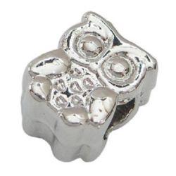Мънисто АРТ 19x11x8 мм дупка 4.5 мм метал бухал цвят сребро