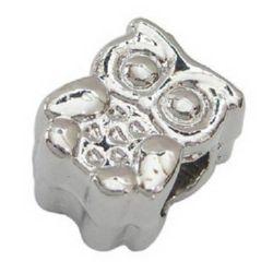 Мънисто АРТ 19x11x8 мм дупка 5 мм метал бухал цвят бял