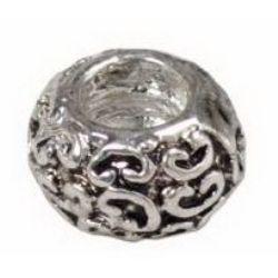 Мънисто АРТ метал 5.5x9 мм дупка 4.2 мм цвят старо сребро