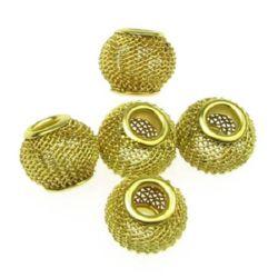Мънисто АРТ метално 12x10 мм дупка 5 мм злато