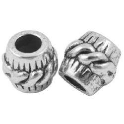 Мънисто АРТ цилиндър 11x10 мм дупка 5 мм метал цвят сребро