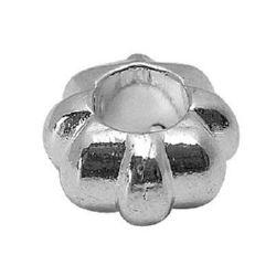 Metal art ring shape bead, Pandora type 12x12x6.5 mm hole 5.5 mm color silver