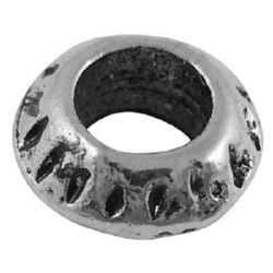 Мънисто АРТ метал шайба 10x5 мм дупка 5 мм цвят сребро -5 броя