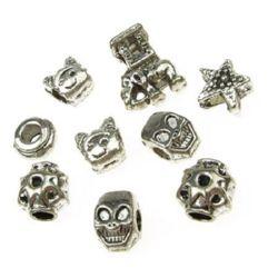 Мънисто АРТ метал 9~14x8.5~12x5~8 мм дупка 3~4 мм АСОРТЕ -20 грама ~8 броя