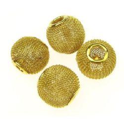 Мънисто АРТ метално мрежа 16x14 мм дупка 5 мм злато
