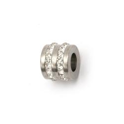 Мънисто АРТ неръждаема стомана 304 цилиндър с кристали 12x10.5 мм дупка 6 мм цвят сребро