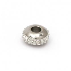 Мънисто АРТ неръждаема стомана 304 абакус с кристали 14x7 мм дупка 5 мм цвят сребро