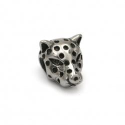 Мънисто АРТ неръждаема стомана 304 леопард 14x10x10.5 мм дупка 4 мм цвят сребро