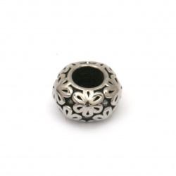Мънисто АРТ неръждаема стомана 304 овал 11.5x6.5 мм дупка 5 мм цвят сребро