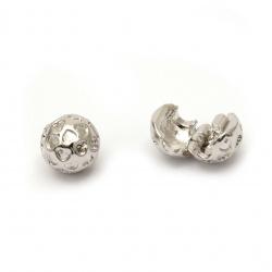 Закопчалка мънисто АРТ метал топче със сърца 10x9 мм дупка 3 мм цвят сребро