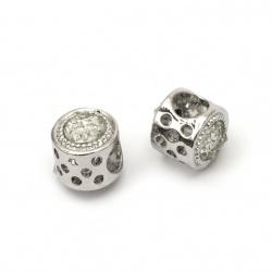 Мънисто АРТ метал с кристали 11x10 мм дупка 5.5 мм цвят сребро