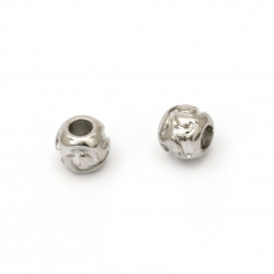 Мънисто АРТ стомана топче 9.5x11 мм дупка 4.5 мм цвят сребро