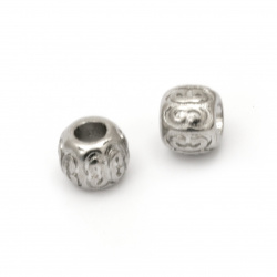 Мънисто АРТ стомана топче 9x11.5 мм дупка 4.8 мм цвят сребро