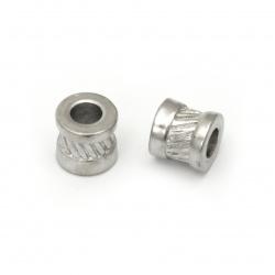 Мънисто АРТ стомана цилиндър 10x10 мм дупка 5 мм цвят сребро