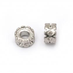 Мънисто АРТ стомана шайба 6.5x11.5 мм дупка 4.5 мм цвят сребро