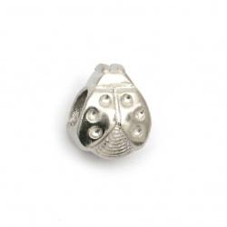Мънисто АРТ стомана калинка 8x8.5 мм дупка 4.8 мм цвят сребро