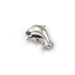Мънисто АРТ стомана делфини 14x9.5 мм дупка 4.5 мм цвят сребро