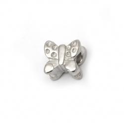 Мънисто АРТ стомана пеперуда 11~12x10~11 мм дупка 4.2~4.8 мм цвят сребро