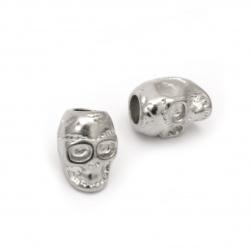 Мънисто АРТ стомана череп 16x11 мм дупка 6 мм цвят сребро