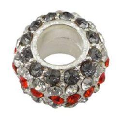 Мънисто АРТ с кристали 14.5x9 мм дупка 6 мм