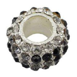 Мънисто АРТ с кристали 14.5x10 мм дупка 6 мм