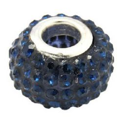 Мънисто АРТ с кристали тъмно сини 15x10 мм дупка 5 мм