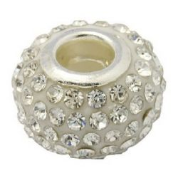 Мънисто АРТ с кристали бели 15x10 мм дупка 5 мм