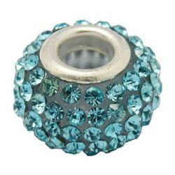 Мънисто АРТ с кристали светло сини 15x10 мм дупка 5 мм