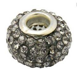 Мънисто АРТ с кристали сиви 15x10 мм дупка 5 мм