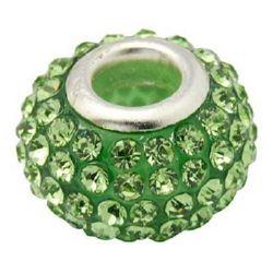 Мънисто АРТ с кристали зелени 15x10 мм дупка 5 мм