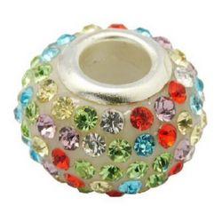 Мънисто АРТ с кристали цветни 15x10 мм дупка 5 мм