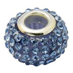 Мънисто АРТ с кристали сини 15x10 мм дупка 5 мм