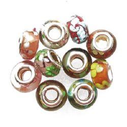 Мънисто АРТ стъкло ръчна изработка цветно АСОРТЕ 14x11 мм дупка 5 мм