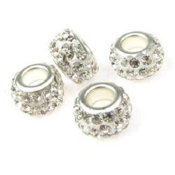 Мънисто АРТ с кристали бели 11.5~12.5x7 мм дупка 5 мм