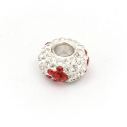 Мънисто АРТ месингово топче с кристали екстра качество 13.5x13.5x7 мм дупка 4.5 мм